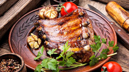 Delicious grilled barbecue pork rib on plate.Spareribs.American cuisine