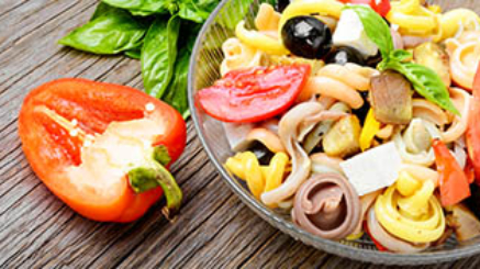 Italian salad with pasta and fried vegetables.Italian Cuisine
