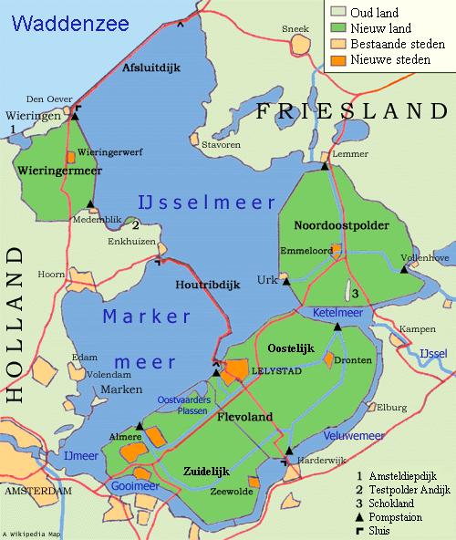 Kaart van het IJsselmeer